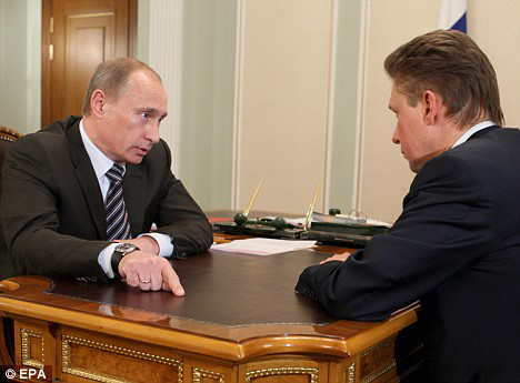 Russian Prime Minister Putin instructs Gazprom chairman Alexei Miller during a meeting yesterday