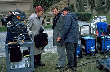 John Nash meets with Russell Crowe and Ron Howard on the set of A Beautiful Mind