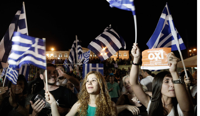 "Greek ""No"" Campaigners Waving Flags"