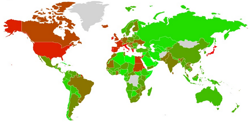 GoldCore: IMF World Debt Map by Country