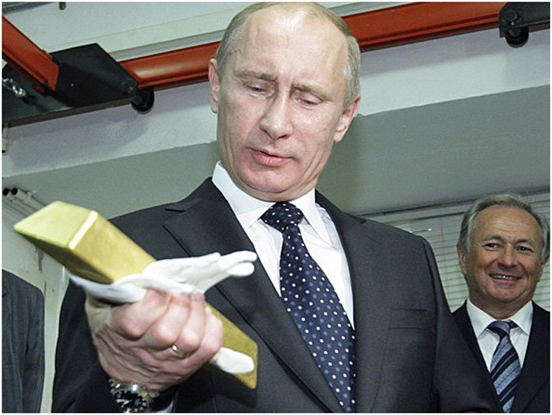 Russian Central Bank Buys Gold – 600,000 Ounces Or 18.7 Tons In January As Venezuela Launches 'Petro Gold' Putin Russia Gold Bar