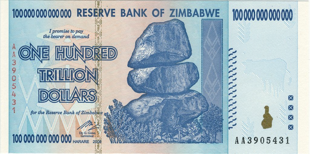 Deepening Crisis In Hyper-inflationary Venezuela and Zimbabwe Deepening Crisis In Hyper-inflationary Venezuela and Zimbabwe Zimbabwe 100 trillion 2009 Obverse 1024x508