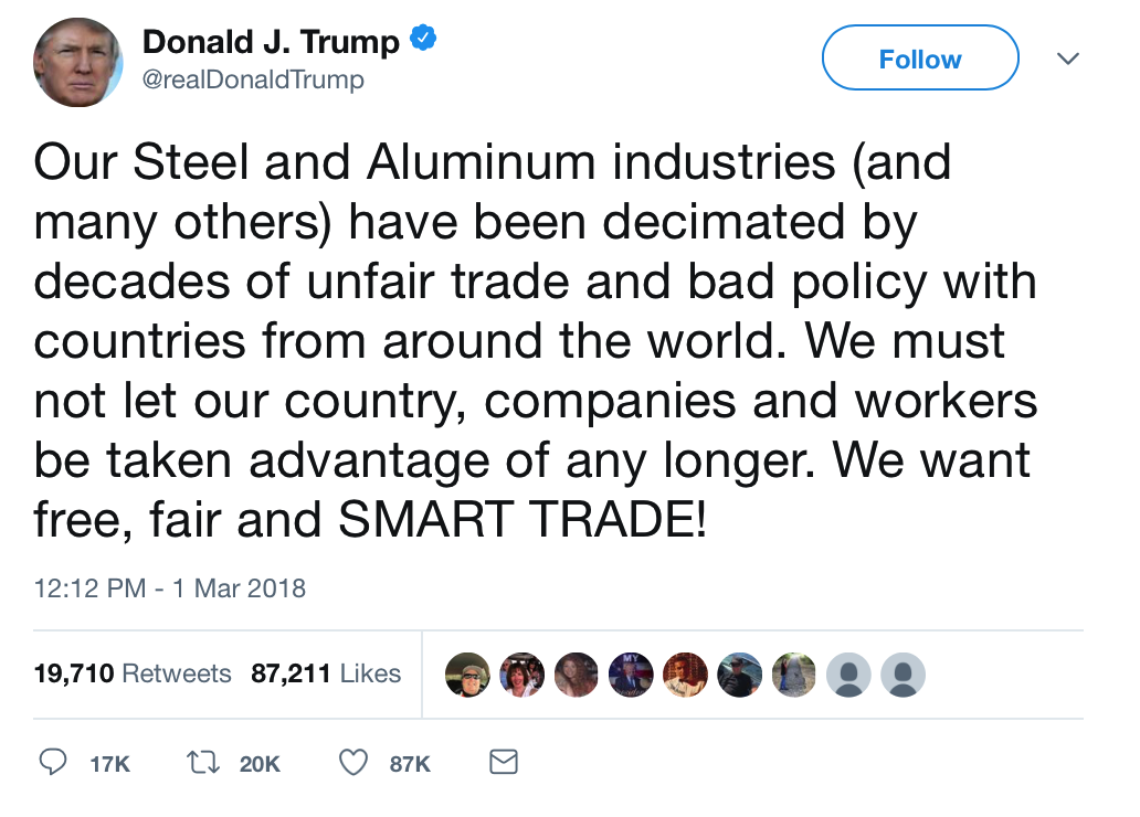 Trump Risks Trade and Currency Wars – Protectionism and Economic War Loom Trump Risks Trade and Currency Wars – Protectionism and Economic War Loom Snip20180302 10