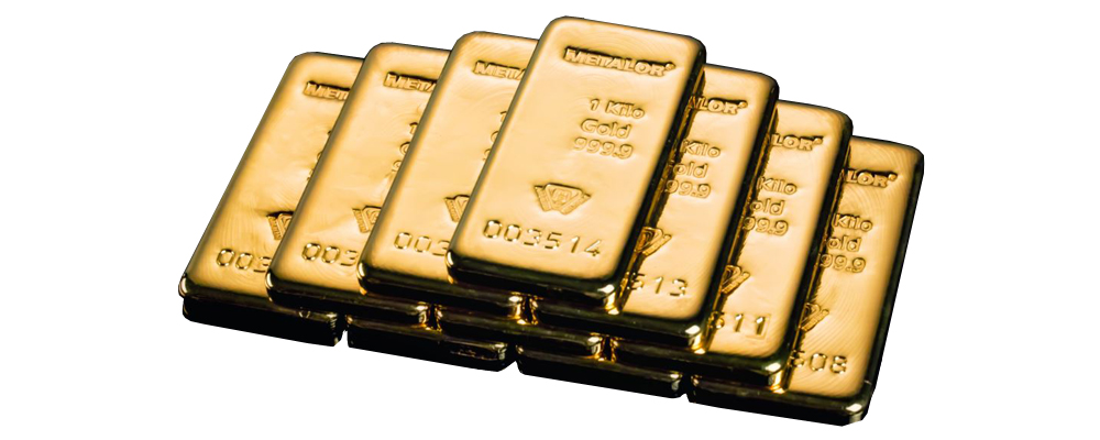 Cast gold bars stacked