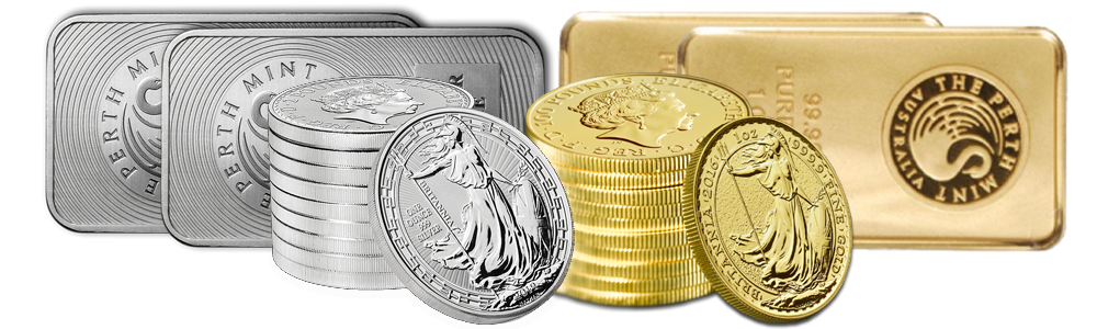 Silver and Gold Bars and Coins