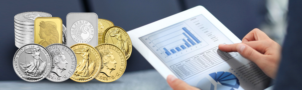 Gold Coins and Bars in a portfolio